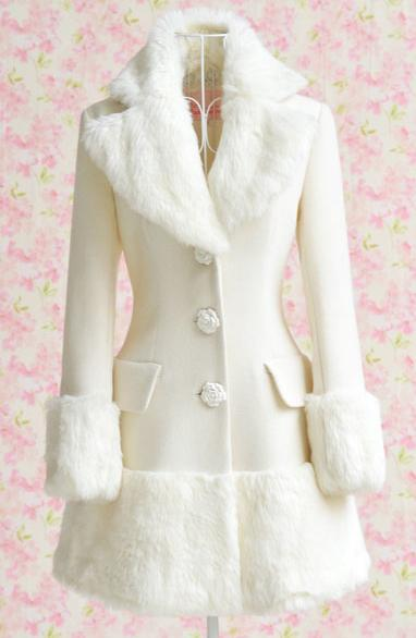New Winter Women Gorgeous Faux Fur Collor Cuff White Coat Outerwear 3 Size | eBay