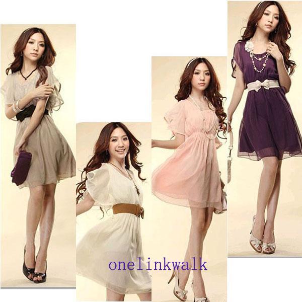 Hot Fashion Women Short Wave Sleeve Crew Neck Chiffon Casual Mini Dress   eBay