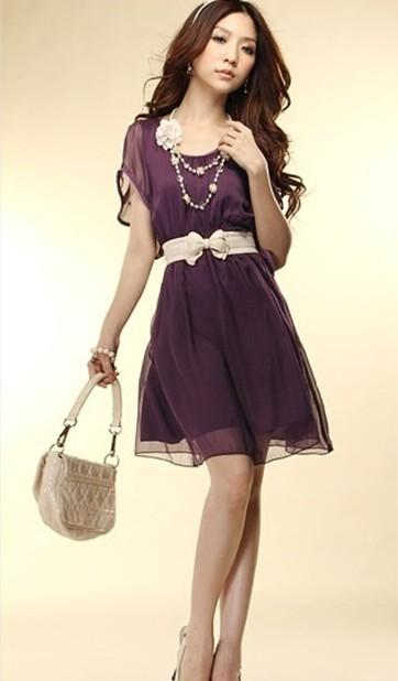 Purple Fashion Women Lady Short Wave Sleeve Crew Neck Chiffon Casual Mini Dress | eBay