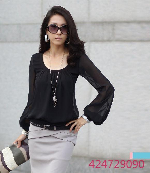 Women s Fashion Long Sleeve Round Neck Chiffon Blouse Chiffon Shirt