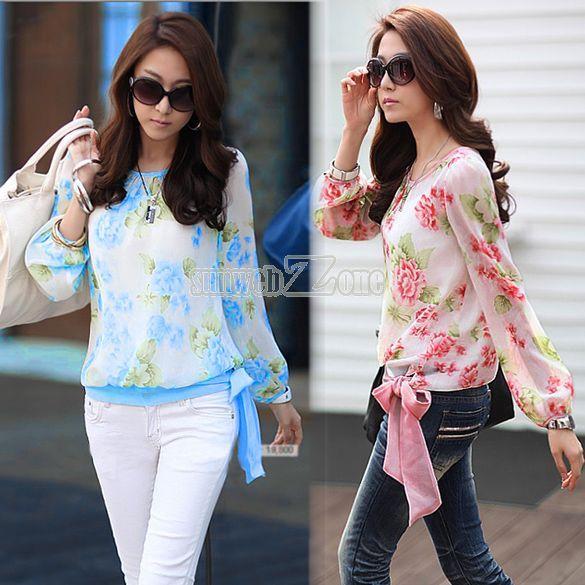 Women's Chiffon Floral Print Casual Puff Long Sleeve Shirt Tops Blouses S0BZ | eBay
