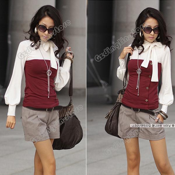 Women's Autumn Long Sleeve Cotton Casual Bowknot Blouse Tops T Shirt Size s 713   eBay