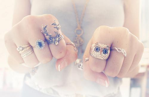 deer, faded, girl, owl, rings - inspiring picture on Favim.com