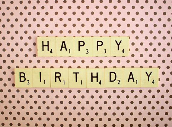 Happy Birthday Retro Scrabble Tiles Pink Polka by happeemonkee