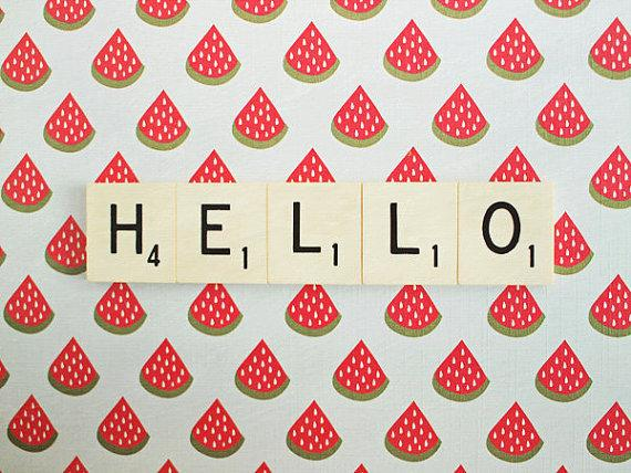 Hello Retro Scrabble Tiles Watermelon Slices by happeemonkee