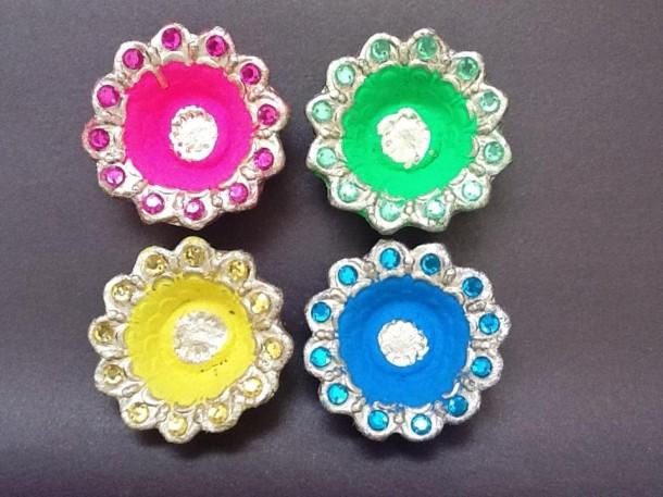 Colorful Earthen Diyas - Craftsia - Indian Handmade Products & Gifts