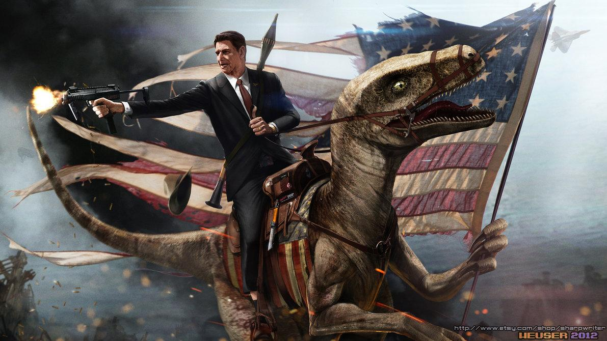 Ronald Reagan Riding a Velociraptor by *SharpWriter