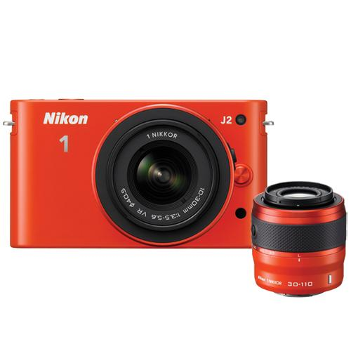 Nikon 1 J2 10.1MP Interchangeable Lens Camera with 10-30mm & 10-110mm Lens Kit - Orange : Mirrorless Cameras - Future Shop