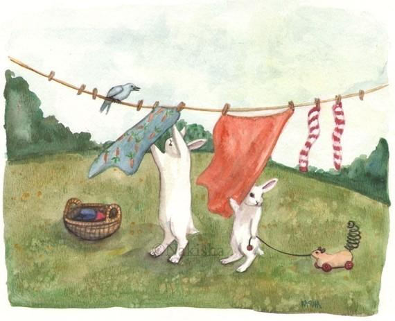 Laundry Day Limited edition fine art print by bluedogrose on Etsy