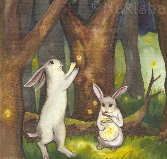 Fireflies Fine Art Rabbit Print Limited Edition by bluedogrose