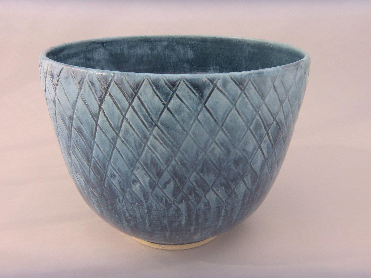 Hand Carved Slate Blue Deep Stoneware Bowl by MiriamsKiln on Etsy