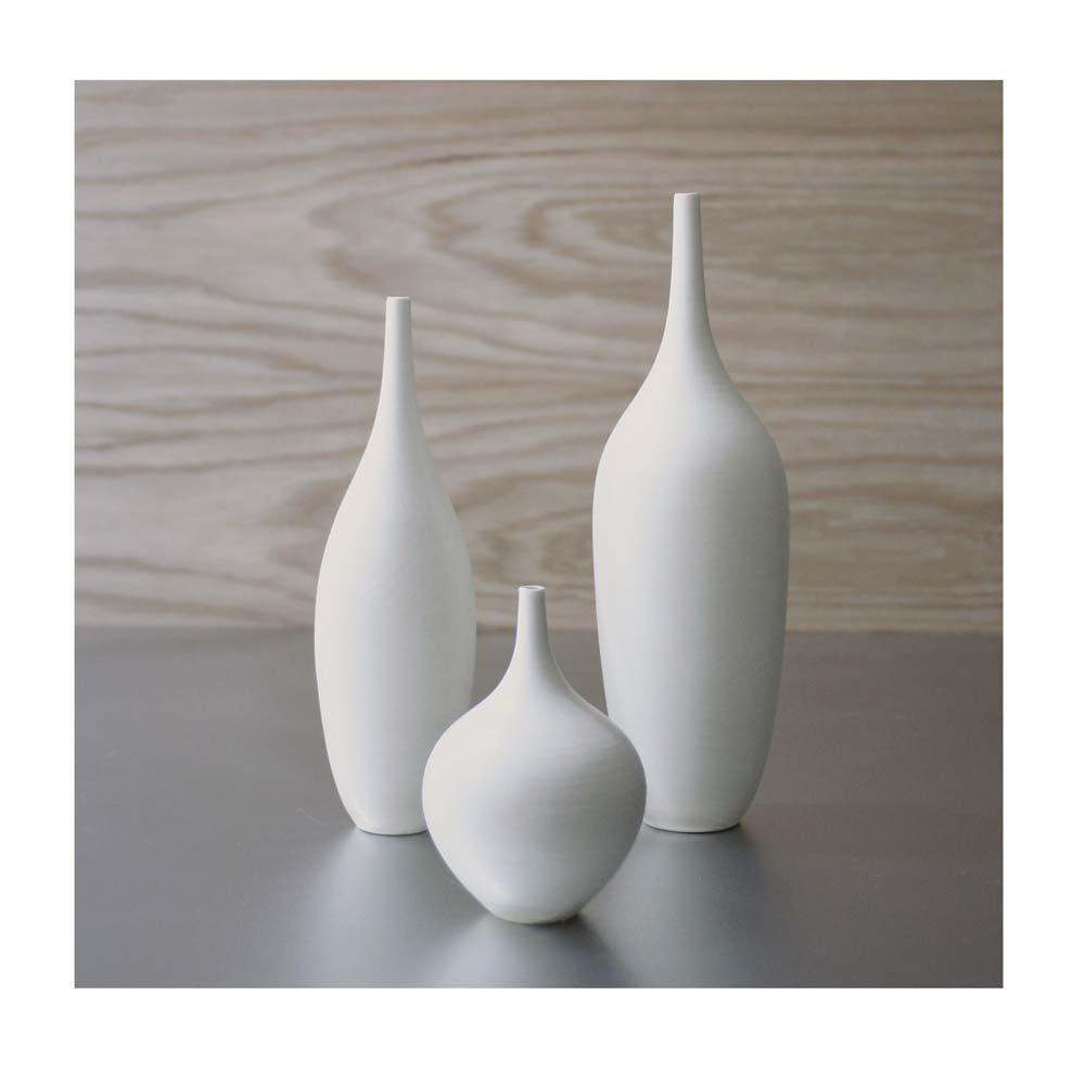 Set of 3 Modern White Small Bottle Vases by Sara by sarapaloma
