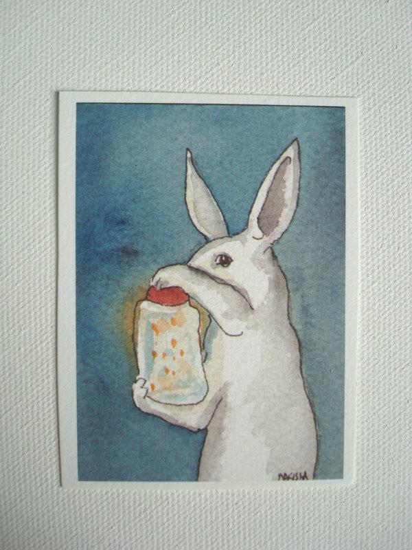 Jar of Fireflies ACEO Sized Archival Print by bluedogrose on Etsy