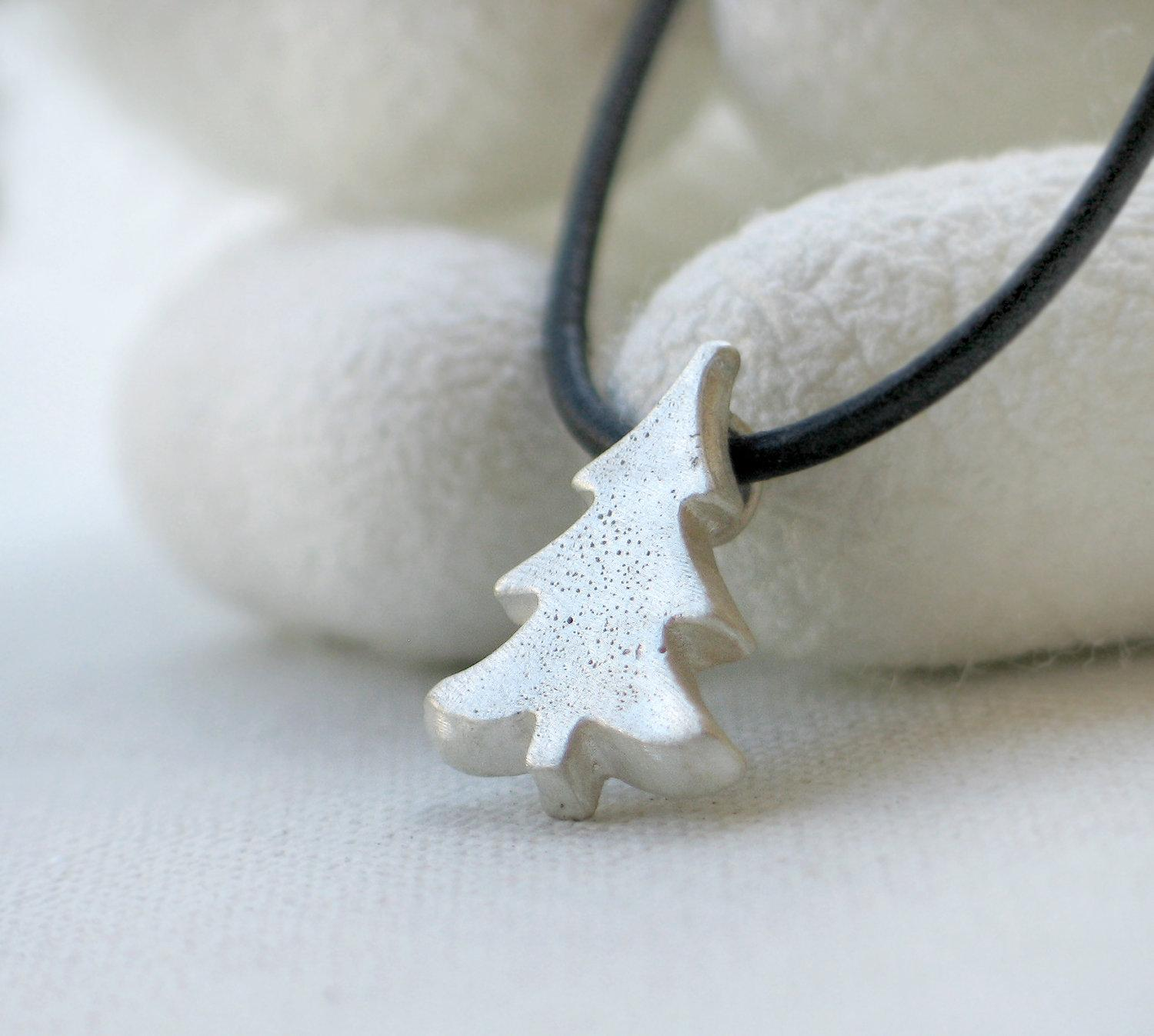 Christmas tree sterling silver pendant by mariastudio on Etsy