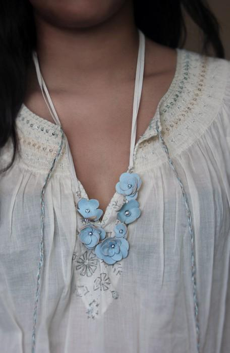 Forget me not blue leather floral necklace by BABETTEjewelry