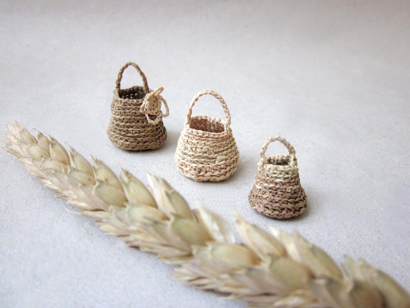 Miniature elf's baskets set of three kitchen decor by plad on Etsy