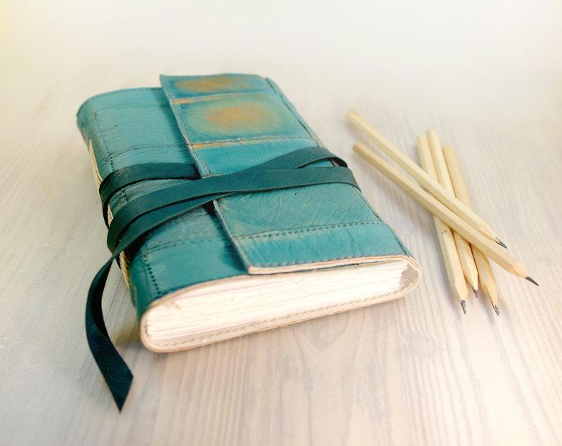 Journal Turquoise Leather Art Journal Notebook Diary by Baghy