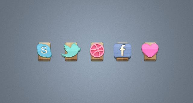 Wood Social Icons Set Vol 1 | Social Icons | Pixeden