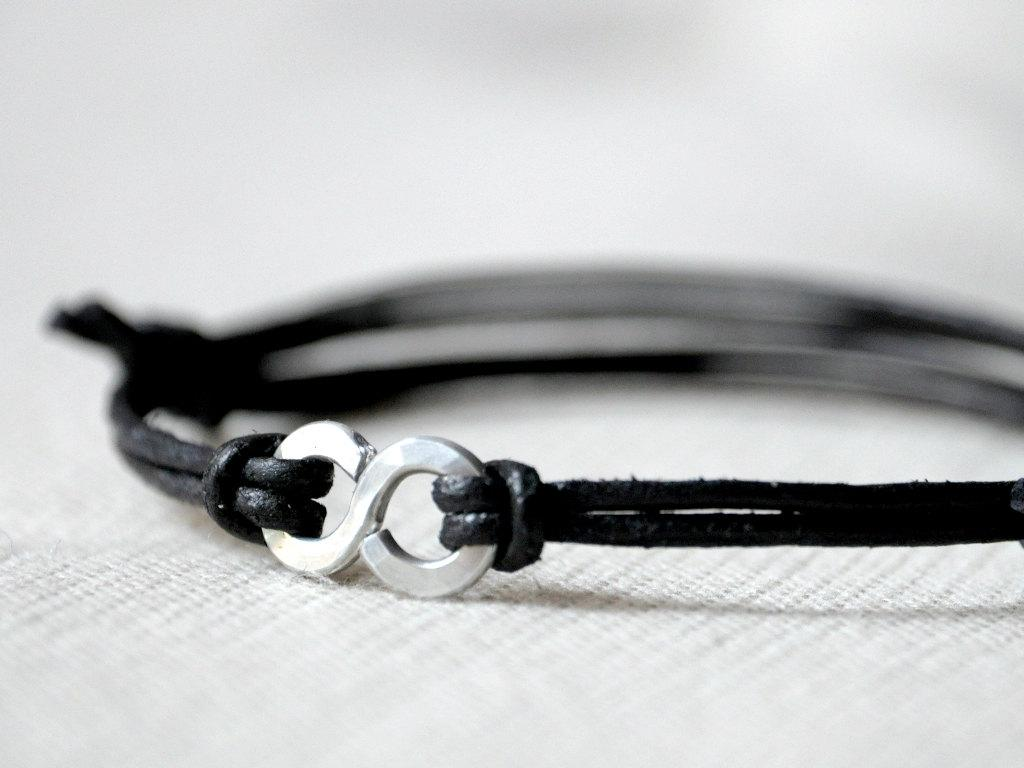 For Him Infinity Bracelet Black Leather and Aluminium by Kosmika