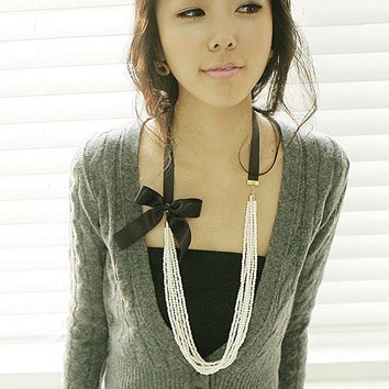 Fashional Multilayer Faux Pearl Bow Ribbon Long Strand Necklace at Online Cheap Fashion Jewelry Store Gofavor