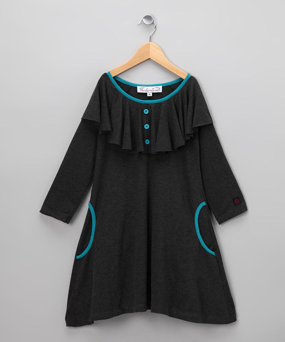 Teal & Charcoal Margarita Dress - Girls | Daily deals for moms, babies and kids
