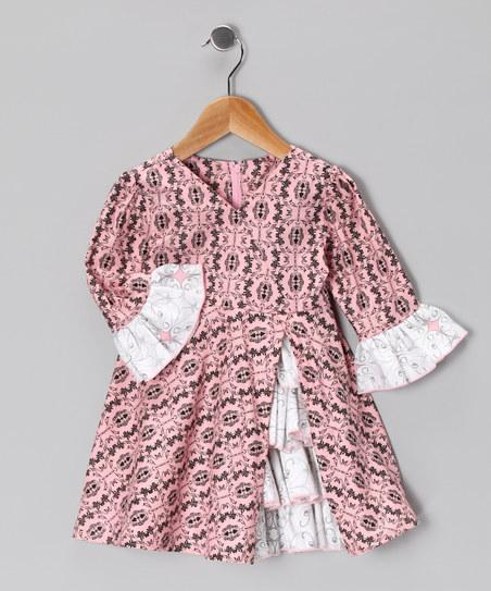 Pink & Black Damask Vintage Ruffle Dress - Toddler & Girls | Daily deals for moms, babies and kids