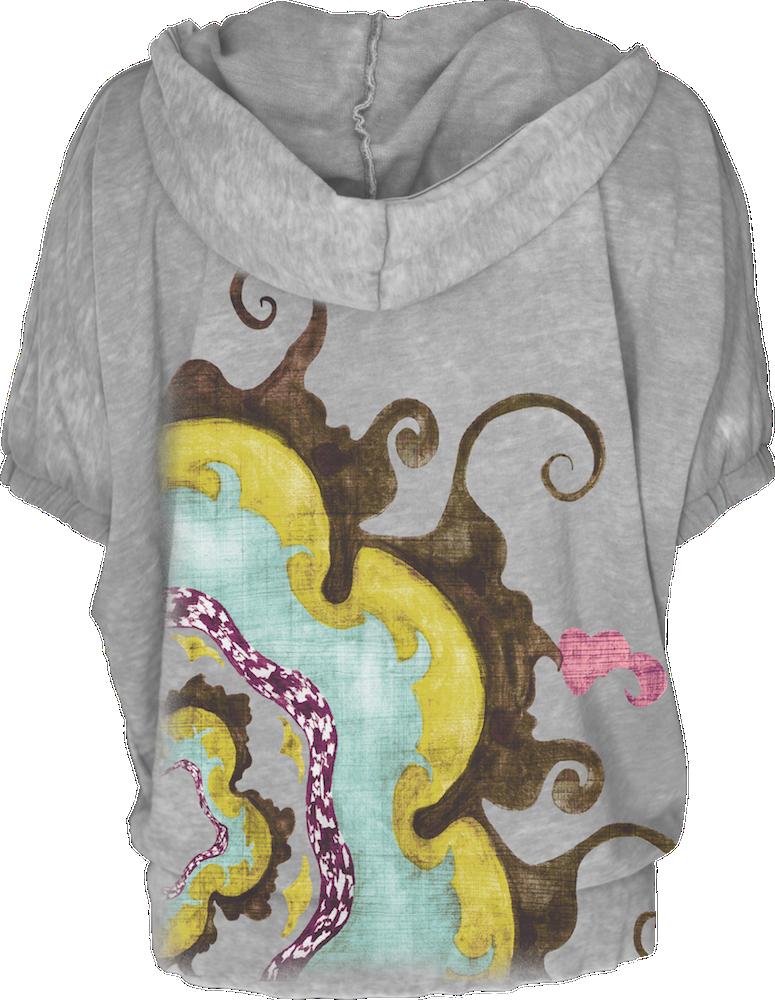 Suzani Flower (Ash, Dolman Hoodie) — Idylle Clothing