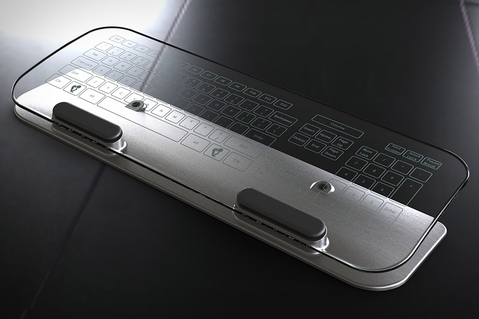 Glass Multi-Touch Keyboard & Mouse | Uncrate