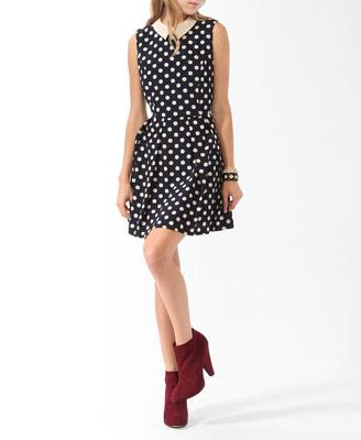 Collared Polka Dot Dress | FOREVER21 - 2019571667