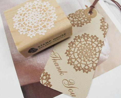 Circle Lace Doily Stamp by WonderlandRoom on Etsy