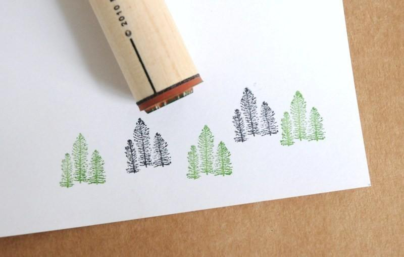 Tree Cluster Rubber Stamp by norajane on Etsy