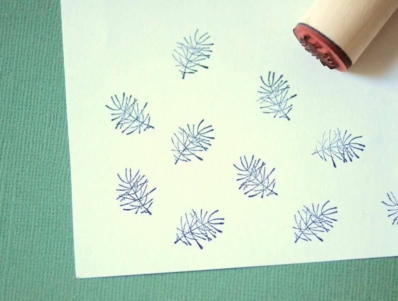 Pine Branch Rubber Stamp by norajane on Etsy