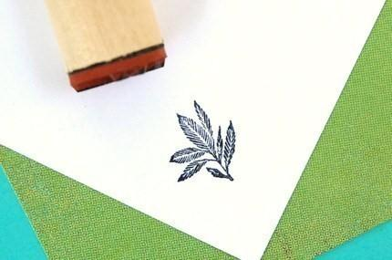 Blue Eden Leaf Rubber Stamp by norajane on Etsy