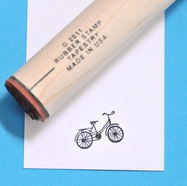 Cruiser Bicycle Rubber Stamp by norajane on Etsy