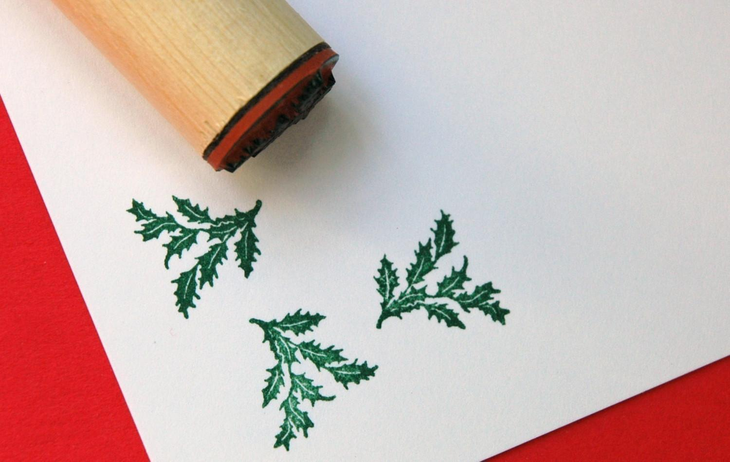 Holly Bough Rubber Stamp by norajane on Etsy