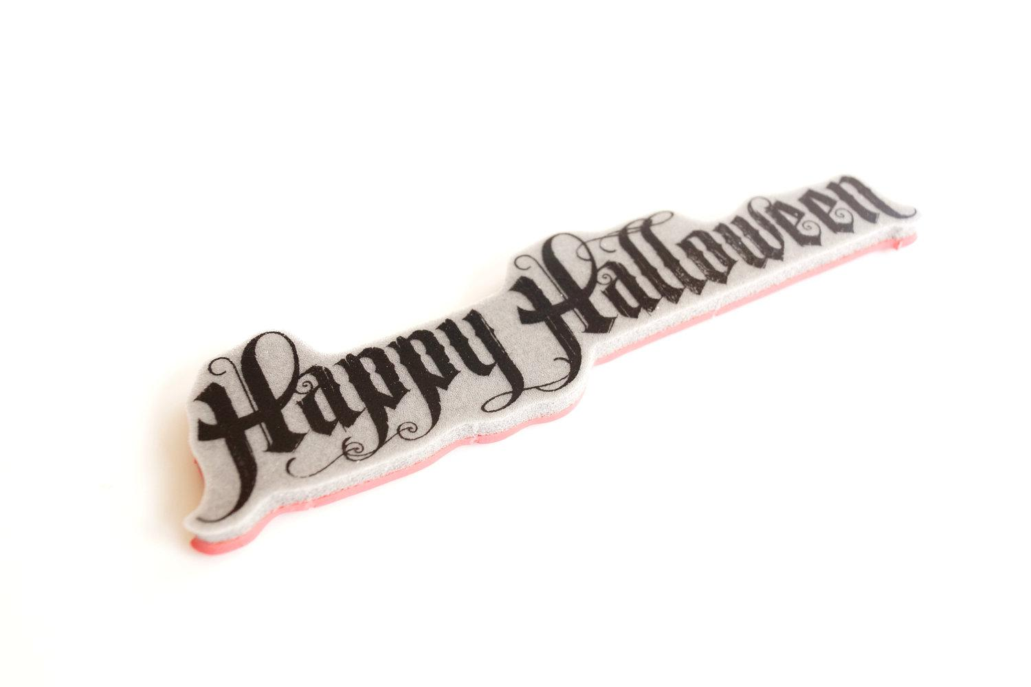 Happy Halloween Text Stamp Rubber Cling Mount Stamp by ThirdShift