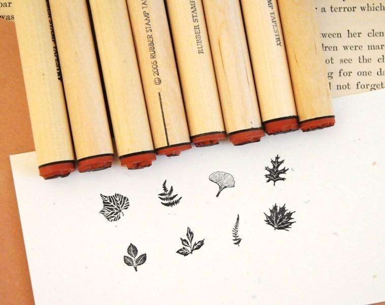 Tiny Leaf Rubber Stamp Sampler by norajane on Etsy