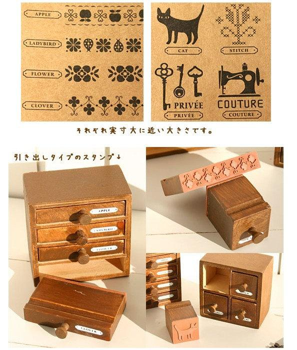2 Pcs Wooden Rubber Stamp Vintage Style Drawer by prettyM on Etsy