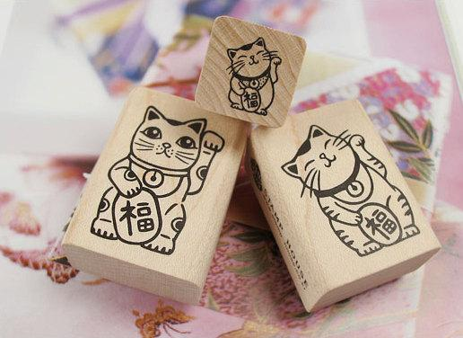 Lucky and Rich Cat Stamp Ver 2 Maneki Neko M by WonderlandRoom