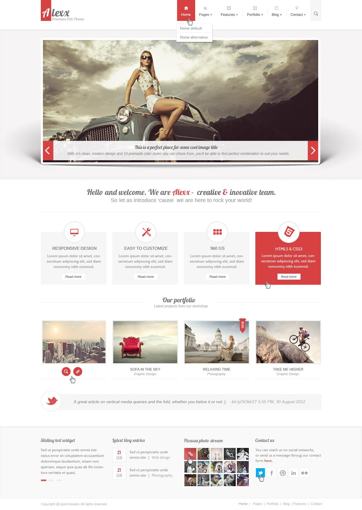 Original image for Our PSD theme Alexx - A post from pixel_industry - Forrst