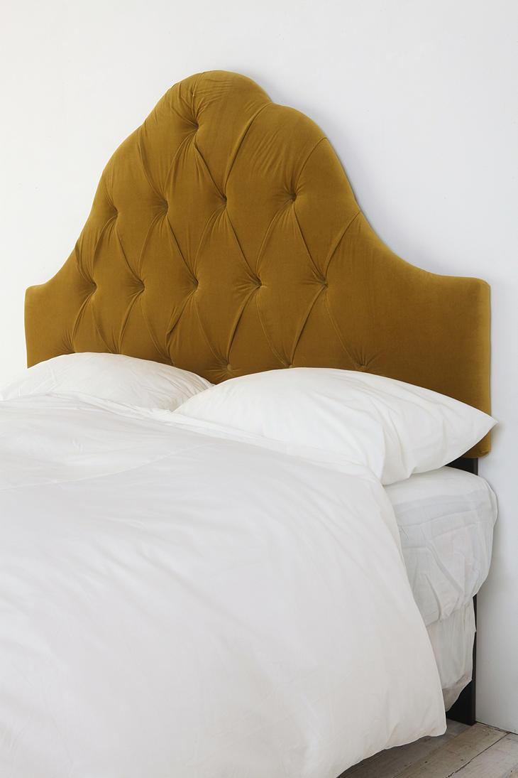 Velvet Tufted Headboard - Palm - Urban Outfitters