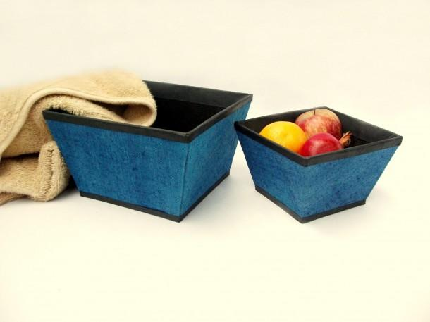 Rope International Blue Jute strage baskets - set of two - Craftsia - Indian Handmade Products & Gifts
