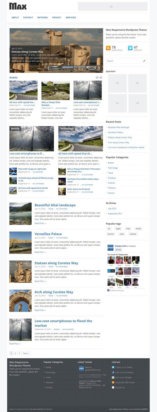 Max Magazine: A Responsive Wordpress Theme | Gazpo.com