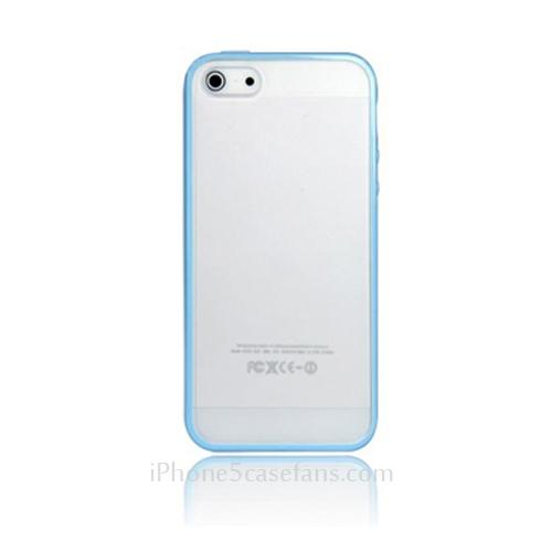 Transparent Silicone Case for iPhone 5 with Light Blue Frame Cover - iPhone5casefans.com