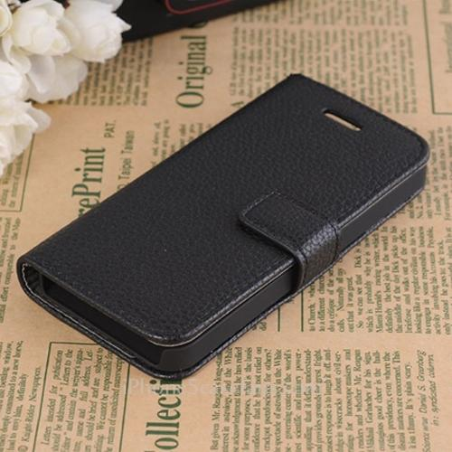 Side Flip Leather Case for iPhone 5 with Black Cover - iPhone5casefans.com