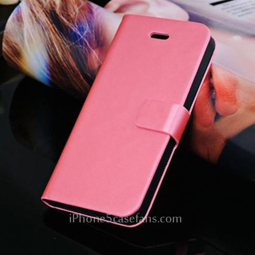 Side Flip Red Case for iPhone 5 with PU Leather Cover - iphone5casefans.com