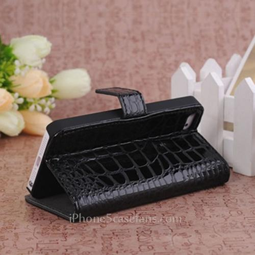 Side Flip Wallet Case for iPhone 5 with Crocodile Black Leather Cover - iPhone5casefans.com