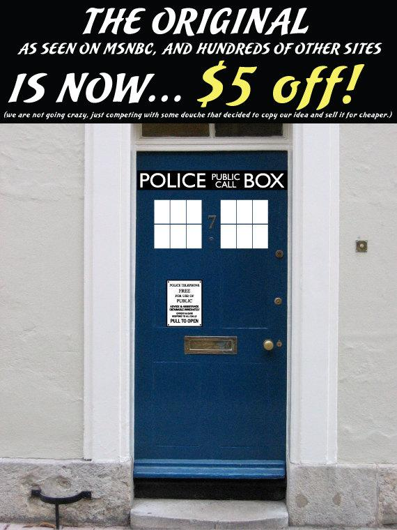 Police Box door decal vinyl sticker Its by Walkingdeadpromotion