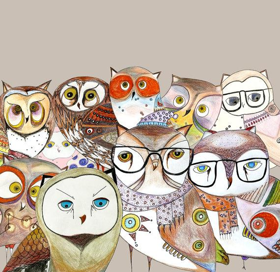 Art print all owls together print bird art poster by O2Optimist