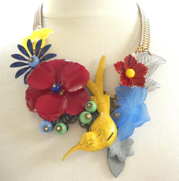 Yellow Hummingbird and Flower Enamel Statement by myfaunaflora